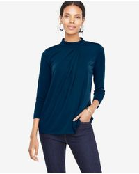 Ann Taylor - Blue Draped Mock Neck Top - Lyst
