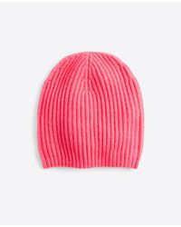 Ann Taylor - Pink Cashmere Ribbed Hat - Lyst