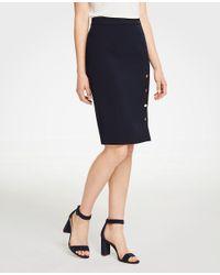 Ann Taylor - Blue Buttoned Pencil Skirt - Lyst