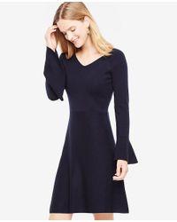 Ann Taylor - Blue Petite Double V Flare Sweater Dress - Lyst