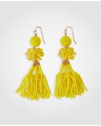 Ann Taylor - Multicolor Seed Bead Tassel Statement Drop Earrings - Lyst