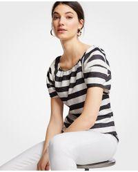 Ann Taylor - Black Striped Lantern Sleeve Top - Lyst