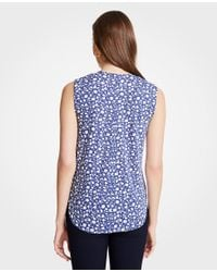 Ann Taylor - Blue Floral Pleated V-neck Shell - Lyst