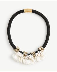 Ann Taylor - White Floral Statement Necklace - Lyst