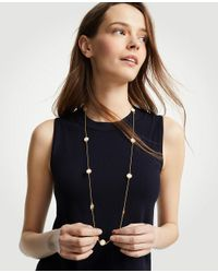 Ann Taylor - Metallic Mother Of Pearl Station Necklace - Lyst