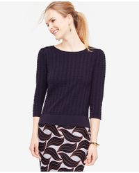 Ann Taylor - Blue Stitched Puff Sleeve Sweater - Lyst