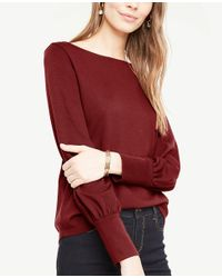 Ann Taylor - Red Blouson Sleeve Cuffed Top - Lyst