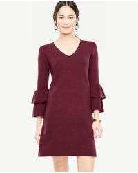 Ann Taylor | Multicolor Ruffle Sleeve Sweater Dress | Lyst