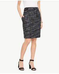 Ann Taylor - Multicolor Tweed Button Tab Skirt - Lyst