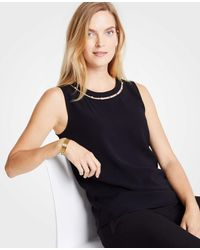 Ann Taylor - Black Petite Pearlized Inset Shell - Lyst