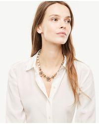 Ann Taylor - Metallic Crystal Flower Necklace - Lyst