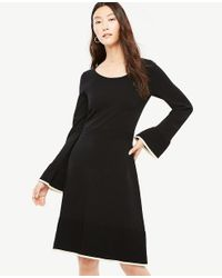 Ann Taylor - Black Ruffle Flare Sweater Dress - Lyst