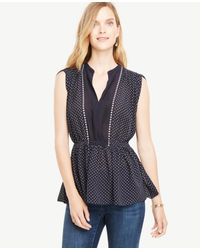 Ann Taylor - Blue Shirred Waist Dotted Top - Lyst