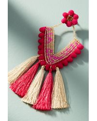 Anthropologie | Pink Fringed Trapezoid Drop Earrings | Lyst