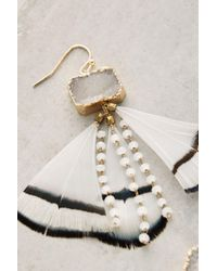 Anthropologie - White Feathered Druzy Earrings - Lyst