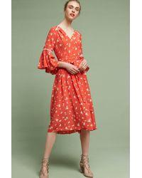 Shoshanna | Red Millie Silk Midi Dress | Lyst