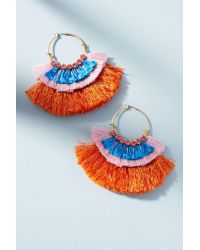 Serefina | Purple Colorblocked Fringe Hoop Earrings | Lyst