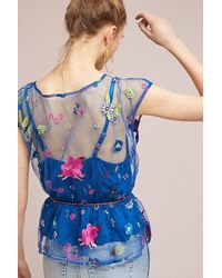 Plenty by Tracy Reese - Blue Burnell Embroidered Blouse - Lyst