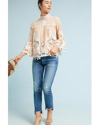 Anna Sui - Natural Lace Peasant Top - Lyst