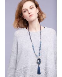 Anthropologie - Blue Tasselled Agate Lariat Necklace - Lyst