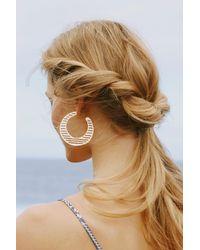 Anthropologie - Metallic Striped Hoop Earrings - Lyst