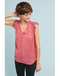 Maeve | Pink Ruffled V-neck Tank Top | Lyst