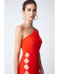 AQ/AQ - Red Emilia One Shoulder Midi Dress - Lyst
