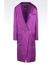 Emporio Armani | Purple Double-breasted Coat | Lyst