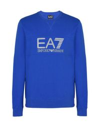 EA7 - Blue Crewneck Sweatshirt for Men - Lyst