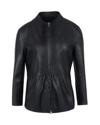 Armani | Black Leather Jacket | Lyst
