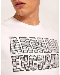 Armani Exchange White Slim-fit Mesh Print Crew for men