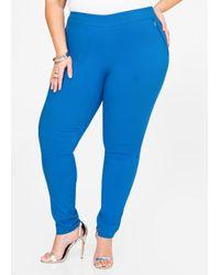 Ashley Stewart | Blue Ultra Stretch Zip Skinny Pant | Lyst