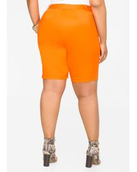 Ashley Stewart - Orange Stretch Sateen Bermuda Short - Lyst
