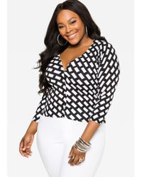 Ashley Stewart | Black Cropped Grid Cardigan | Lyst