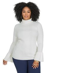 Ashley Stewart - Gray Bell Sleeve Ribbed Turtleneck Sweater - Lyst