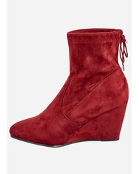Ashley Stewart - Red Tie Back Wedge Bootie - Wide Width - Lyst