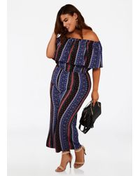 f9e83d0d7a73 Lyst - Ashley Stewart Plus Size Tall Boho Off Shoulder Jumpsuit in Blue