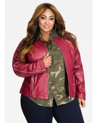 f4e5a75cd36e2 Lyst - Ashley Stewart Zip Sleeve Collarless Faux Leather Jacket in Red