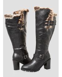 Ashley Stewart Black Chunky Fur Lined Tall Boot - Wide Calf, Wide Width