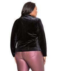 Ashley Stewart - Black Open Front Velvet Blazer - Lyst