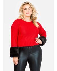 Ashley Stewart Red Faux Fur Cuff Sweater