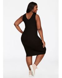 Ashley Stewart - Black Bebe Logo V Neck Tank Dress - Lyst