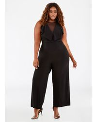Lyst Ashley Stewart Plus Size Mesh Inset Ruffle Jumpsuit In Black