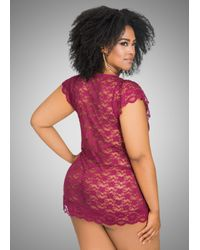 Ashley Stewart - Multicolor Allover Lace Chemise With Thong - Lyst