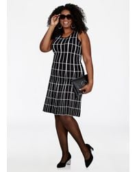 2b22c5babcfd Lyst - Ashley Stewart Mixed Media Grid Print Skater Dress in Black