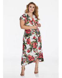 Ashley Stewart White Plus Size Empire Waist Floral Maxi