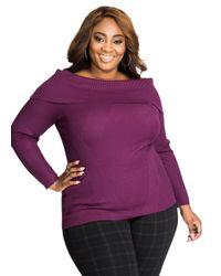 Ashley Stewart   Purple Solid Mixed Media Rib Knit Cowl Neck Sweater   Lyst