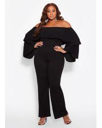 4397dbcb96f8 Ashley Stewart. Women s Black Plus Size Tiered Off The Shoulder Jumpsuit