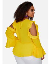 Ashley Stewart - Yellow Ruffle Cold Shoulder Peplum - Lyst