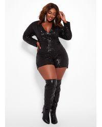 1791000cf6dec Lyst - Ashley Stewart Plus Size Sequin Embellished Romper in Black